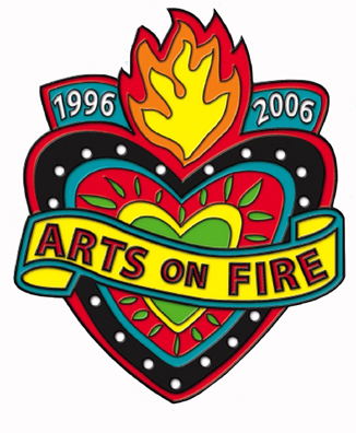 The flaming heart image, representing the passion and vibrancy of the arts,